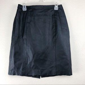 Vintage Black Stretch Leather Pencil Skirt Large